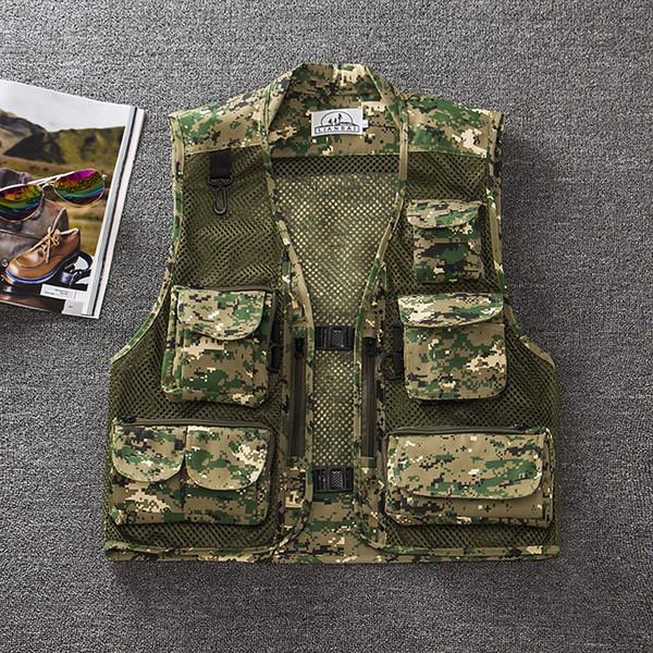 best selling Wholesale-free shipping summer men's plus size fishing jacket Camouflage mesh vest outdoor casual multi-pocket waistcoat men Hot