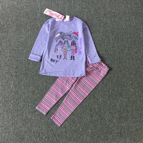 Children's clothing Fashion girl clothes suit long sleeve T-shirt + pants 2 pcs purple color for 2~7 year kids 8 sets/l