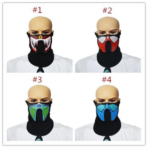 Maschere LED mascherate di Halloween Maschera facciale inferiore Maschera EL filo Maschera el lampeggiante con suono festivo per feste in festa Ciclismo all'aperto