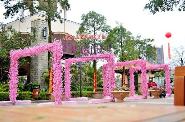 126 CM length Elegant Peach Blossom Silk Flowers Artificial Peach Branches Christmas Ornament Bouquet Wedding Centerpieces Decorations