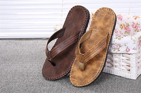 top popular Summer 2016 Men's Fashion Leather Sandals High Quality Casual Slippers Casual Leather Sandals For Men 2019