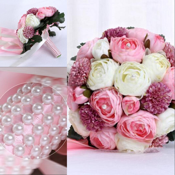 Cheap Artificial Wedding Bouquets In Stock 2016 with Bling Pearls Pink and White Bridesmaid Bouquet Rose Beautiful Bride Vintage Hand Flower