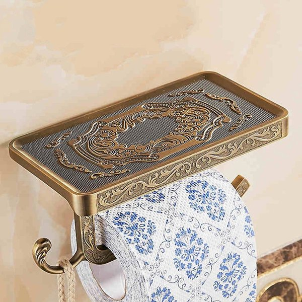 Wholesale And Retail Antique Carving Toilet Roll Paper Rack wiht Phone Shelf Wall Mounted Bathroom Roll Paper Rack And hook