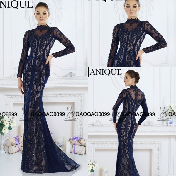 Janique 2016 Nave Blue Lace Embroidery Arabic Dubai Long Sleeve Prom Formal Dresses High Neck Mermaid Beaded Dresses Party Evening Wear