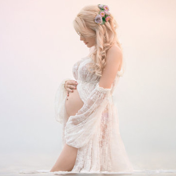 best selling Maternity Photography Props Pregnancy Fancy Dress Lace Robe Strapless Maxi Gown Maternity Dress Split Front Women Long Dress