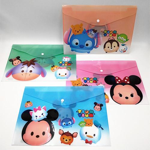 24 pcs/lot Tsum Tsum Cartoon A4 plastic Waterproof Document pocket bill pouch file Pen Filing Products Pocket Folder Office & School Supplie