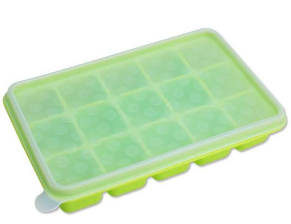Große Eiswürfelschale aus Silikon mit Deckel Flexible Aufbewahrungsbox für Babynahrung Gefrierschalen Wiederverwendbar BPA-frei