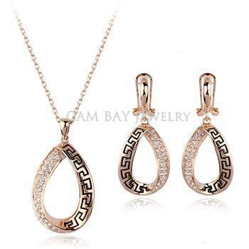 Top Quality 18K Gold Plated Classic Oil Painting Rhinestone Women Party Jewelry Earring & Necklace Sets Jewels