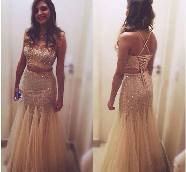 sparkly Two piece gold sequin rhinestone gold prom dresses plus size sexy long mermaid prom evening dress gown gold mermaid dress