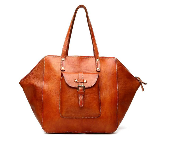 KISSUN Factory Vintage Women Handbag Tanned Leather Brown Shoulder Bag Large Size Tote Bag Best Quality Handmade Women Bag