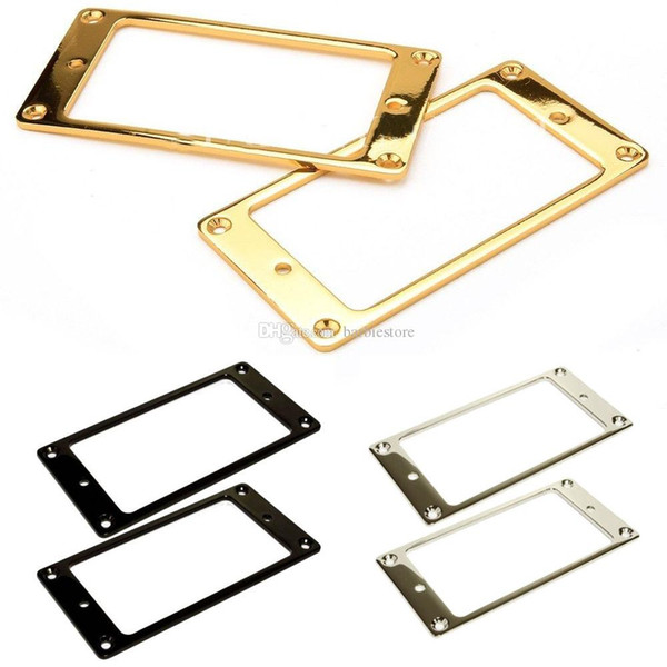 best selling 2pcs Gold Plated Metal Flat Humbucker Pickup Mounting Ring for Guitar White E00378 SMAD