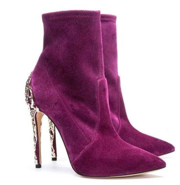 Hot Sale Suede Leather Gold Decor Women Boots Purple Black Gladiator High Heels Dress Shoes Woman Fall Spring Ankle Boots Plus Size 42