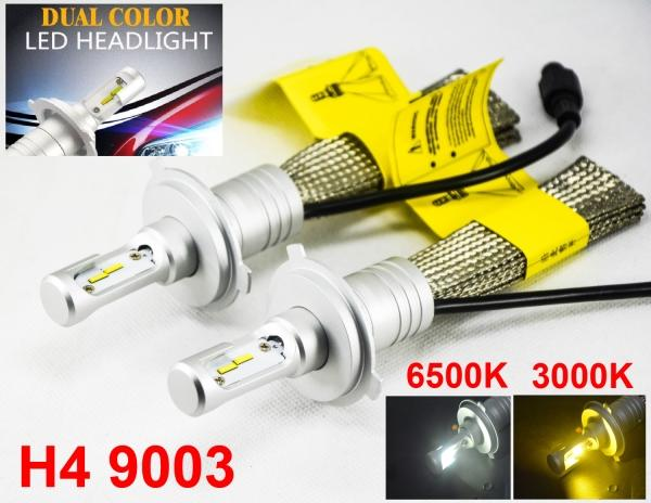 1 Set H4 HB2 9003 60W 8000LM S5 LED Headlight Kit LUMI ZES Chip Dual Color 3000K Golden Yellow + 6500K Pure White Fanless 2-in-1 Amber White