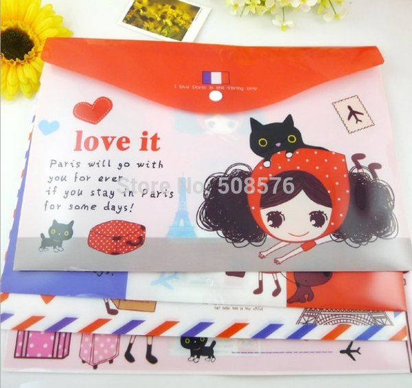 New lovely girl A4 documents file bag / cartoon File folder / stationery Filing Production/Wholesale