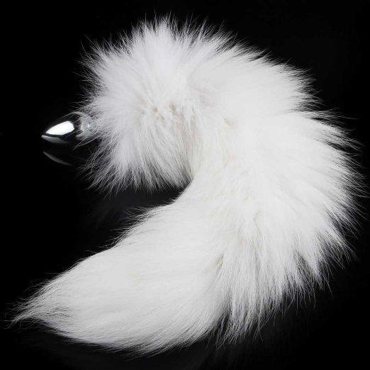 Jouet de sexe de queue de bout à bout de queue de renard blanc sauvage en acier inoxydable pour adulte blanc