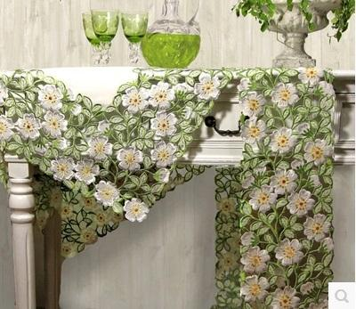 Wholesale- High quality lace white embroidered table runner /fabric chic home decor embroidery kitchen coffee pad Bedside table cover