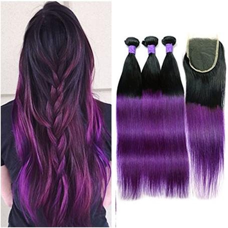 Straight 1B Purple Ombre Virgin Braziilian Hair with Top Closure 4Pcs Lot Dark Root Purple Ombre 4x4 Lace Front Closure with 3Bundles