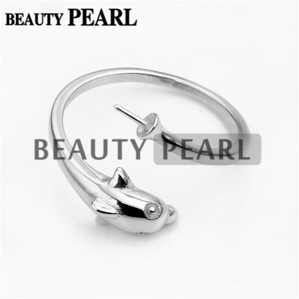 Bulk of 3 Pieces Ring Mount for DIY Jewellery Findings 925 Sterling Silver Dolphin Ring Blank