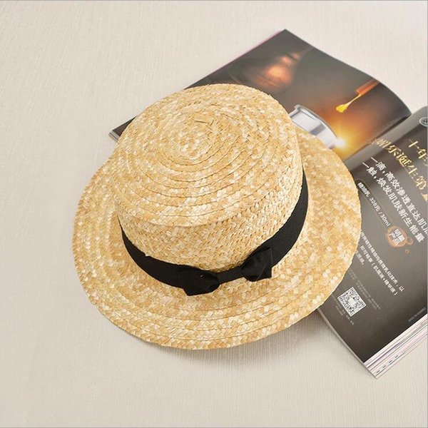 Wholesale- 2017 Summer Sweet Cute Vintage Cross Sun Hat Beach Hat Ribbon Bow Navy Style Straw hat cap Short Flat Brim cap for women