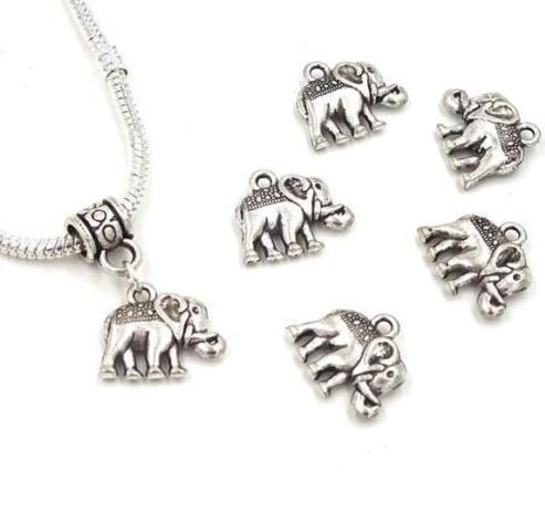 150pcs / lot argento antico placcato elefante lega pendenti di fascini per fai da te gioielli che fanno scoperte 12x14mm