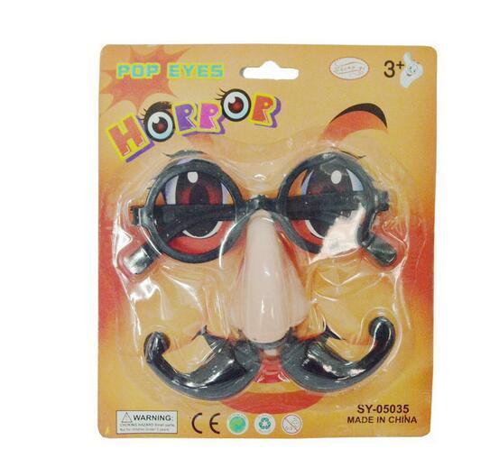 Payaso divertido Fake Big Nose + Gafas + Bigote Barba Disfraz de Carnaval de Halloween Fiesta Bolas de bola Gafas Set Travesura alegría