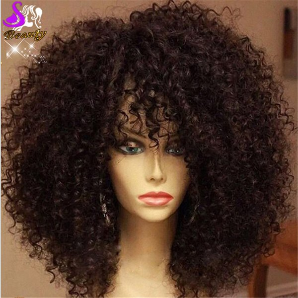 Cheap Sale Kinky Curly Wig Black Natural Lace Front Wig Synthetic Lace Front Wigs with bangs Heat Resistant Free Shipping