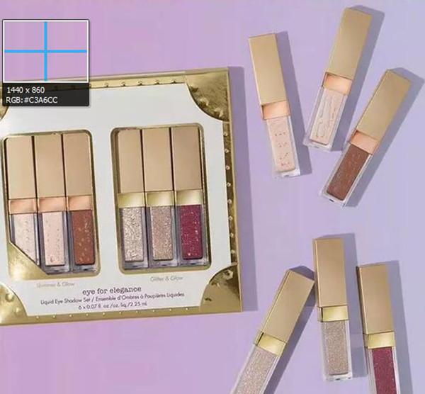 best selling New Eye For Elegance set Shimmer Glitter Liquid EyeShadow 6 pcs Travel Set makeup palettes Free shipping