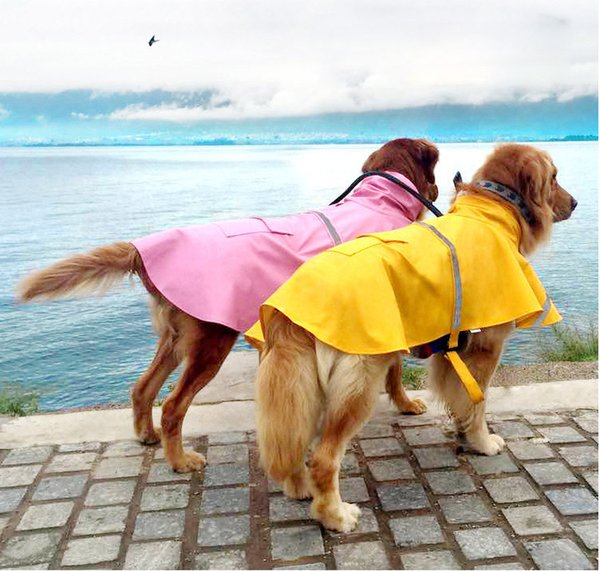Pets Dog Puppy Cat Rain Coat Dog Clothes Waterproof Jacket Rainwear Clothes Hooded Reflective With 7 Colors 16090901