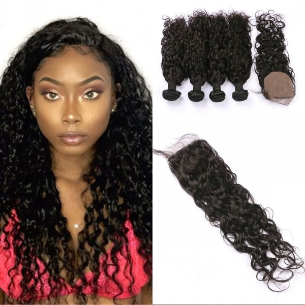 4 pcs hair weave bundles with closure high quality Indian hair silk base closure with water wave human hair extensions FDSHINE