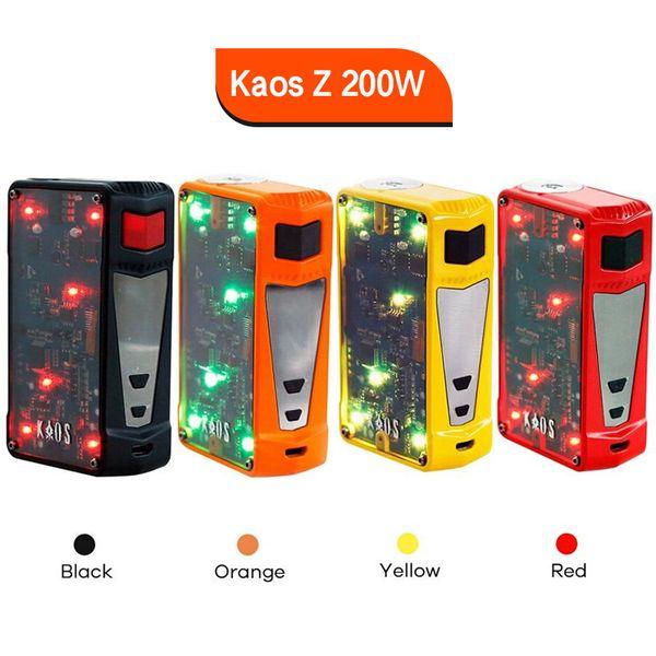 Authentic Sigelei Spectrum Kaos Z 200W Mod Upgraded LED Light Box Mod 4 Colors E Cigarette Vape Mod 100% Original