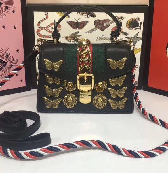 Best Quality Famous Women Handbags Genuine Leather Shoulder Bags Metal Butterfly Lion Hasp Buckle Size 20*14*8cm