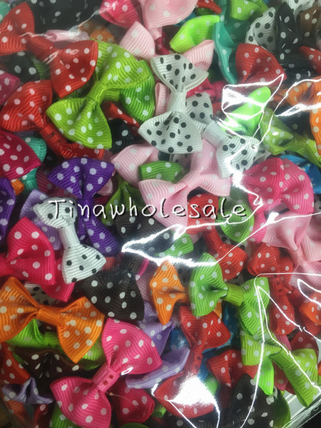 3.5*2.5cm Dots Mini Fashion Boutique Ribbon Bow For Hair Hairpin headband accessories special offer (can't choose color) 500pcs/lot)