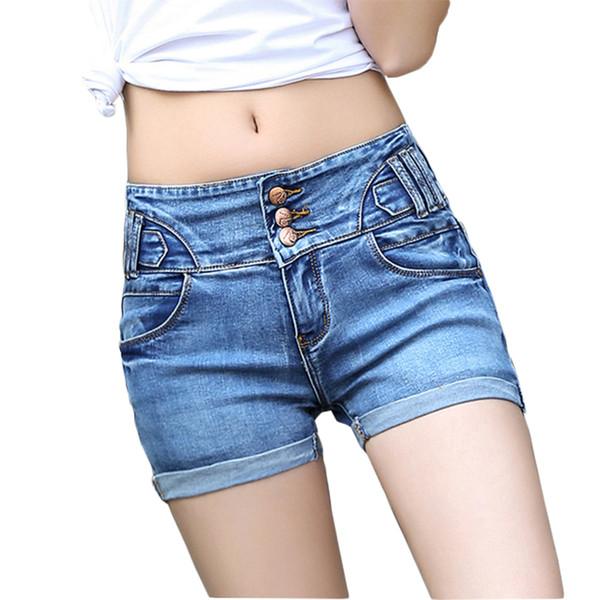 Al por mayor- Pantalones cortos de cintura alta Mujeres Pantalones cortos de mezclilla Femme 2017 Mujeres Pantalones cortos de los pantalones vaqueros ocasionales de verano Bermudas Feminina Plus Size