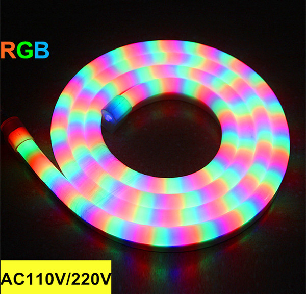 Outdoor LED flexible Neon sign strip soft tube lights RGB 80leds/m AC 110V 220V building bridge decotation LED Sign free shipping