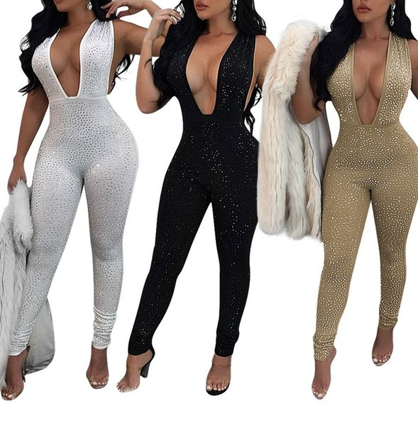 Sexy Sequins Women Bodycon Jumpsuit Glitter Jumpsuit Romper Bodysuit Sequin Playsuit F0276 Shinning Rhinestones V Neck Sleeveless