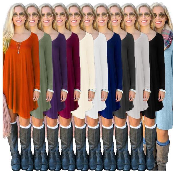 المرأة القمصان الأزياء الترفيه قمم طويلة الأكمام عارضة بلوزة الأوروبي أمريكا شارع بلون قميص يفقد فضفاض طويل تانك KKA2726