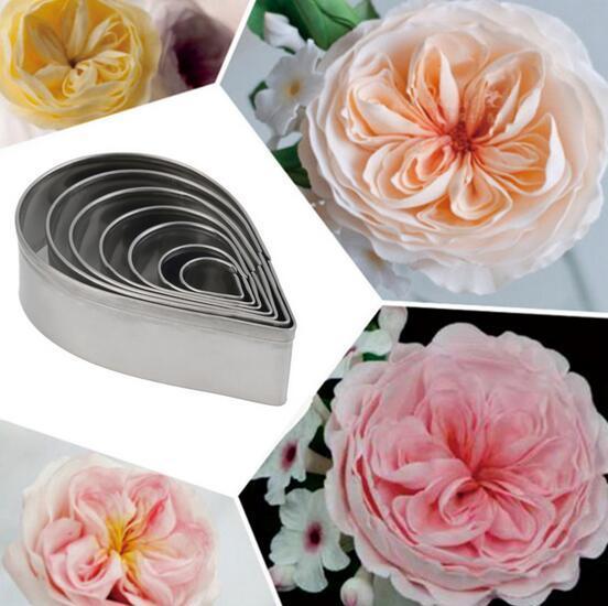 Nouveau Arrivée 7pcs / set Cuisine Baking Mold Fondant Party Wedding Decor Droplet / Rose Petal Cookie Cake Cutters Biscuit Pâtisserie Moule Cute