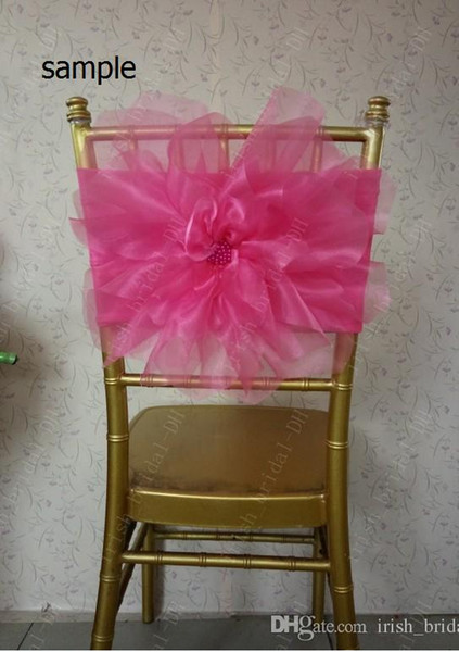 2015 Plum Organza 3D Flower Romantic Beautiful Chair Sash Sample G01
