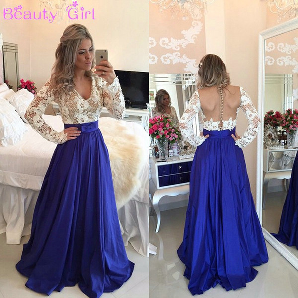 Beautiful Lace Chiffon Prom Dresses Long Sleeves V Neck Sheer Backless with Buttons Long Evening Formal Party Gowns Plus Size