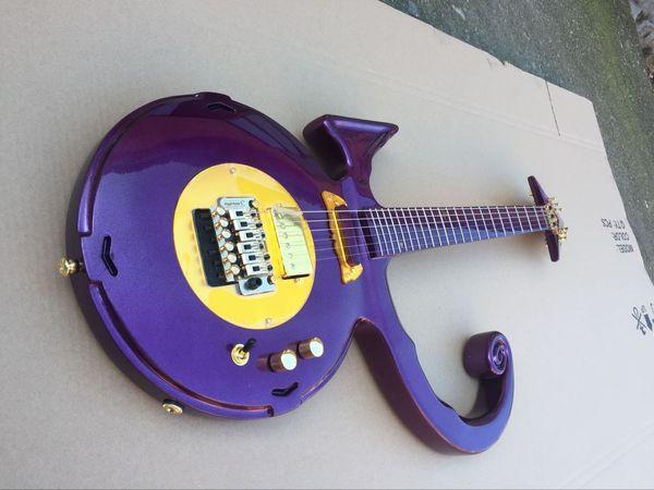 Chitarra elettrica a forma di rara unica Metallic Purple Pince Symbol Chitarra elettrica Floyd Rose Tremolo Bridge Gold Hardware