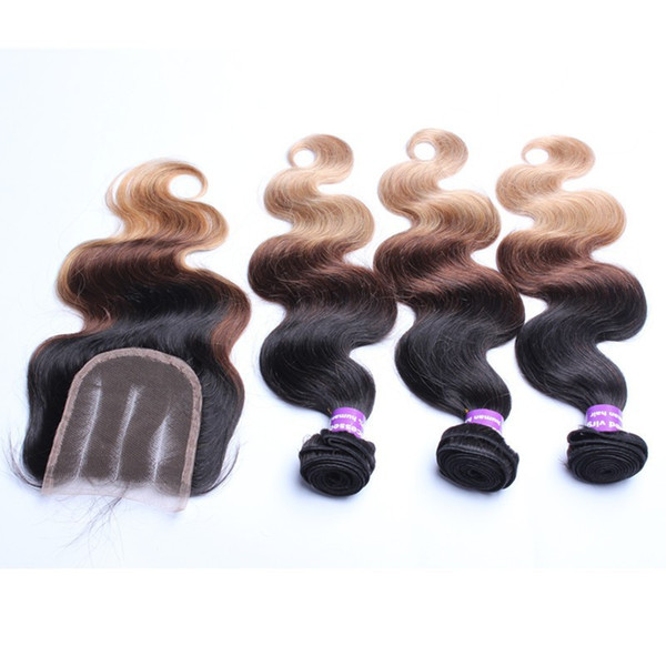 #1b/#4/#27 Ombre Color Peruvian Hair With 4*4 Lace Closure Three Parting Body Wave 3Pcs Human Hair With Lace Closure 4Pcs/Lot