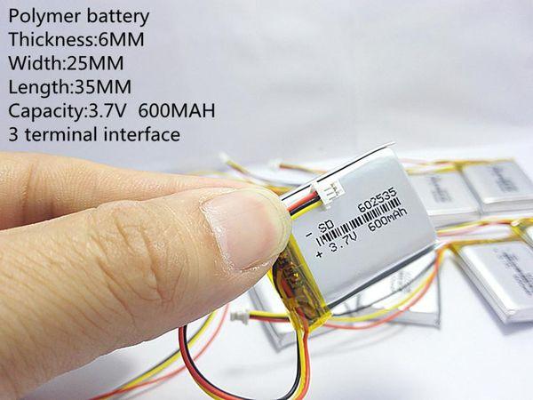 3.7 V видеомагнитофон Mio MiVue 388 емкость 600MAH модель 582535 602535 полимер thium батарея 3 линия