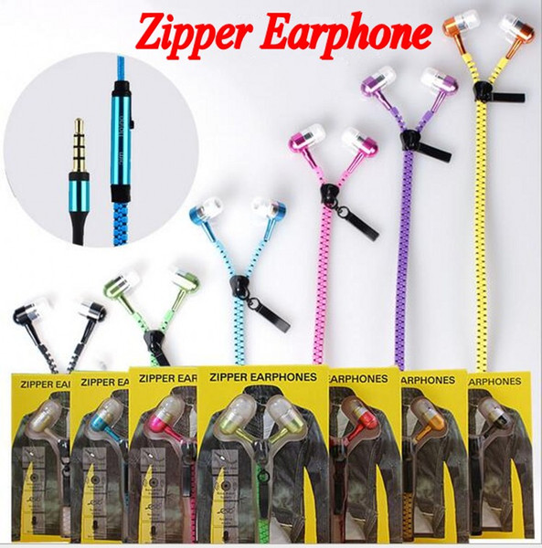 2016 New Zipper in-ear 3.5mm earphone with mic metal buds zipper headset headphone for MP3 iphone Samsung htc and retail box