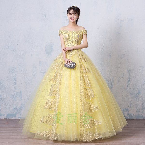 Wholesale Light Yellow Princess Belle Court Embroidery Beading ...