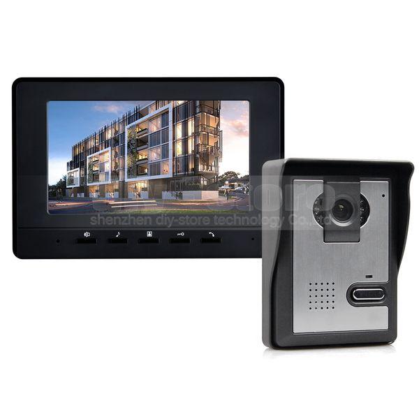 DIYSECUR 7inch Video Intercom Video Door Phone Doorbell 1 Camera 1 Monitor for Home / Office Security System Black