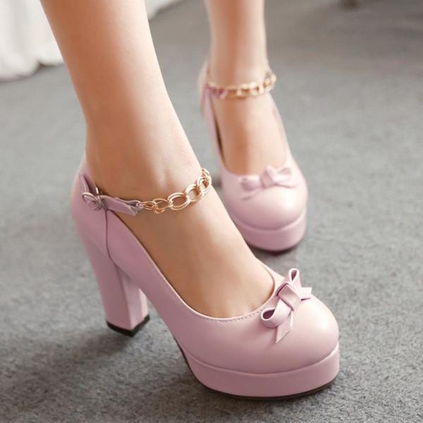İlkbahar yaz yeni Koreli kadınlar tatlı yay su geçirmez yüksek topuklu ayakkabılar toka ile kaba