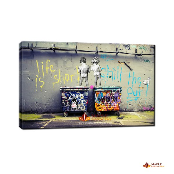 best selling Banksy Art Life Is Short Chill The Duck Out cheap modern canvas art home decor wall art painting large wall picture