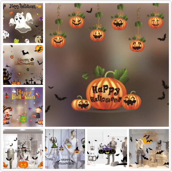 Halloween sticker pumpkin spooky cemetery witch and bat wall decals window stickers halloween decorations 18 styles