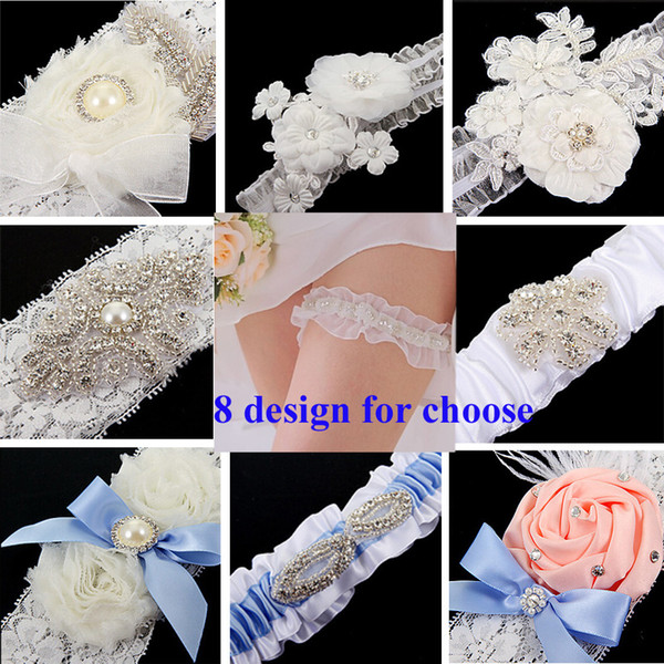 Free Shipping Lace Bridal Garters 8 Design For Choose 2015 Cheap Sexy with Crystal Beads Wedding Leg Garters Bridal Accessories TYC005