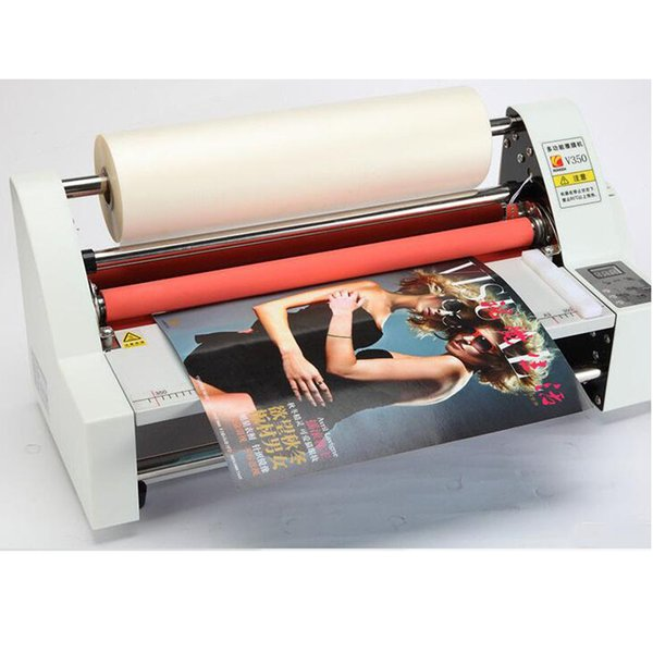 """top popular 13"""" V350 Cold Laminator Four Rollers Hot Roll Laminating Machine electronic temperature control single heating model 2021"""
